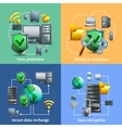 Data encryption and security icons set vector image vector image