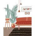 flat cozy home interior vector image vector image
