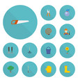 flat icons tools flowerpot latex and other vector image vector image