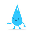 happy little water drop cute character vector image