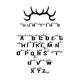hunting alphabet with horns vector image vector image