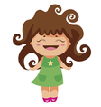 kawaii cheerful curly baby-grl vector image