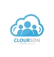 logo combination of a cloud and people vector image vector image