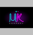 neon lights alphabet uk u k letter logo icon vector image vector image