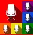 office chair sign set of icons with flat vector image vector image