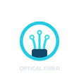 optical fiber icon logo on white vector image vector image
