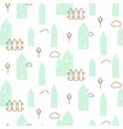Pastel mint houses baby fabric seamless