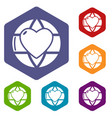 planet heart icons hexahedron vector image vector image