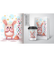 pretty rabbit - mockup for your idea vector image vector image