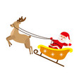 santa claus riding reindeer christmas sleigh vector image