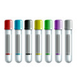 set blood test tubes or plastic empty test vector image vector image