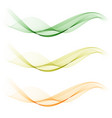 set of abstract color wave smoke transparent green vector image vector image