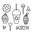 set of hand drawn sweets bakery cafe vector image vector image