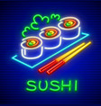 set of sushi neon icon vector image