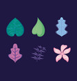 set of tropical leafs and flower vector image vector image