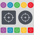 sight icon sign A set of 12 colored buttons Flat vector image vector image