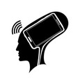 silhouette a man s head with a brain in the vector image vector image