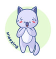 sneezing sick cute kitten of kawaii vector image