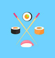 sushi set rolls with salmon and nigiri with vector image