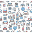 thin line art car service seamless pattern vector image vector image