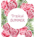 tropic summer card with rose flowers vector image vector image