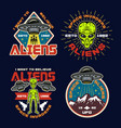 ufo and aliens set four colored emblems vector image vector image