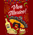 viva mexico banner with mexican food and sombrero vector image vector image