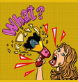 what woman with megaphone advertising vector image vector image