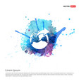 world globe icon - watercolor background vector image