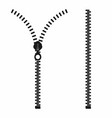zipper open and closed zipper slide fastener vector image vector image