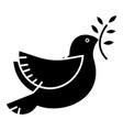 dove peace icon black sign vector image