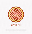 apple pie thin line icon vector image