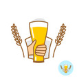 beer glass with hand and wheat ears logo vector image vector image