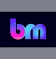 bm b m spink blue gradient alphabet letter vector image vector image