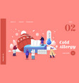 characters with cold allergy landing page template vector image vector image