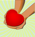 charity hands giving love concept vector image vector image