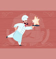 chef cook hold star award smiling cartoon vector image vector image
