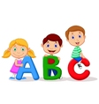 Children cartoon with ABC alphabet vector image vector image