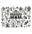 Circus set of icons vector image