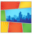 city on comic page comics book frames composition vector image vector image