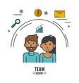 colorful poster of team work with half body couple vector image vector image