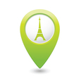 eifel tower icon on map pointer green vector image