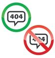 Error 404 message permission signs vector image vector image