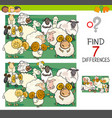 find differences with sheep farm animal characters vector image vector image