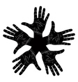 Five open hands abstract symbol detailed black and vector image vector image