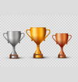 gold silver and bronze championship cups vector image