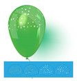 green helium balloon with confetti vector image vector image