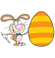 Happy Bunny Painting An Easter Egg vector image vector image
