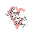 happy valentines day handwritten lettering on pink vector image