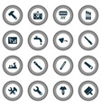 industry icons set with screw drawing with vector image vector image